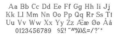 Skrifttype oversigt for dobbelt blokskrift
