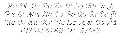 Skrifttype oversigt for enkel skriveskrift
